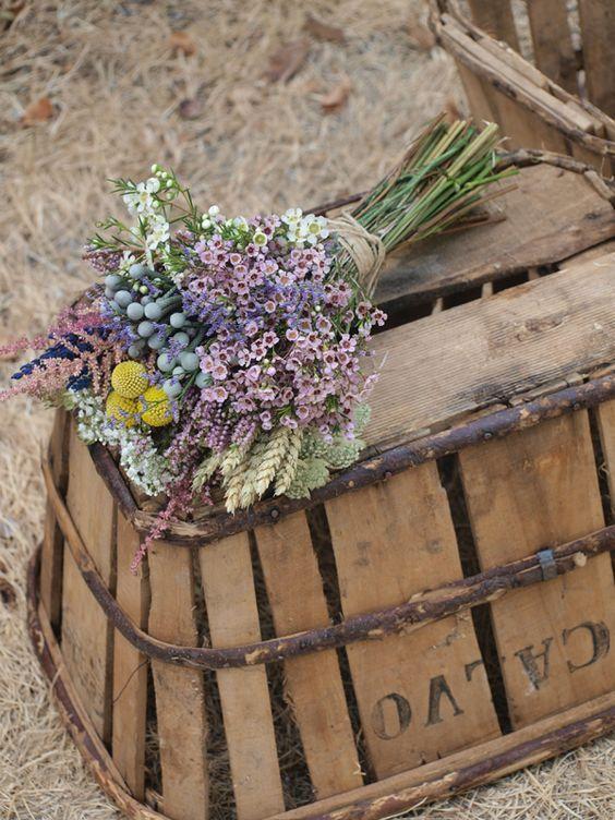 ramos de flores naturales espigas astilbe trigo
