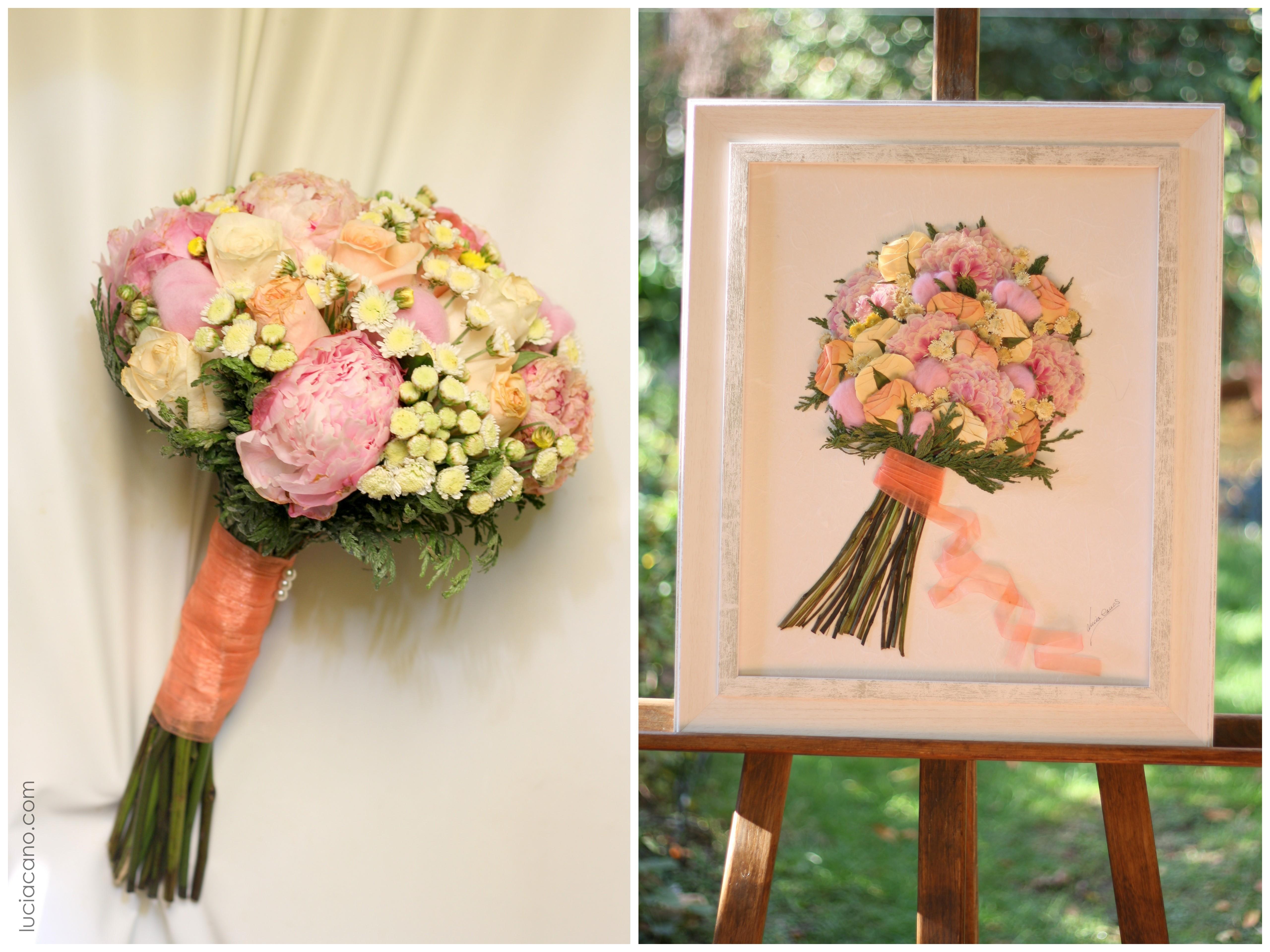 como secar ramo novia peonia rosas