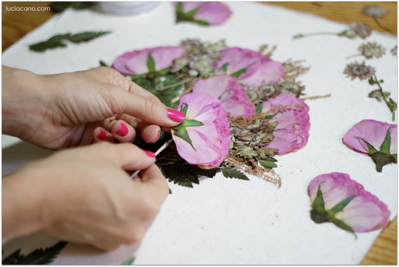 Secado y montaje de ramo de novia de flores naturales