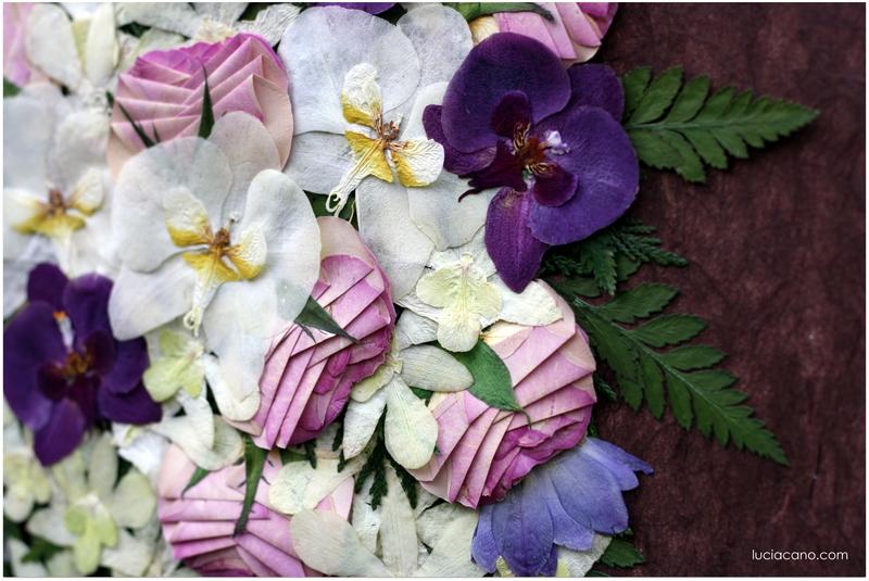 Detalle de ramo de novia prensado con rosas orquideas y fresias
